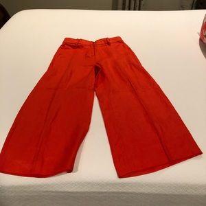 Jcrew orange wide leg linen pants